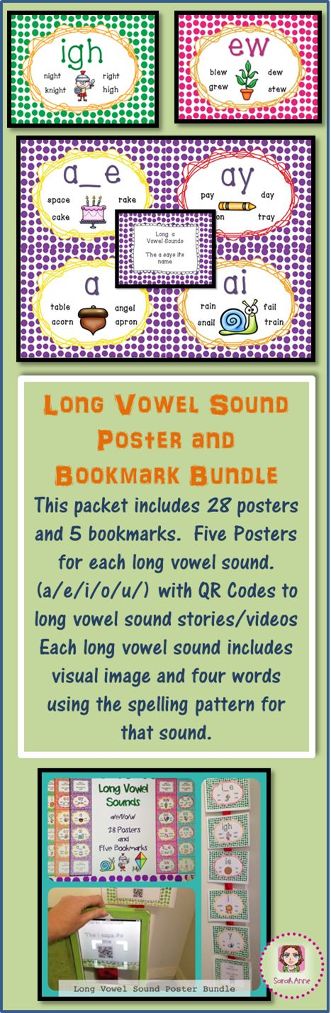 Long Vowel Sound Poster Bundle includes 28 posters and 5 bookmarks representing all long vowel sounds with picture for each sound to cater for visual learners.  Each bookmark includes all spelling patterns that makes the long vowel sound. Bookmarks can also be used when reading or glued inside the students writing workbooks or writing folder.  This resource supports  CCSS ELA-RF K.2, K.3, 1.2, 1.3, 2.3 Enjoy!  Sarah Anne :)