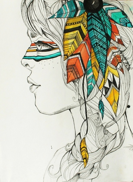 Indian Woman Art Print. I love how the colors stand out against the black and white.