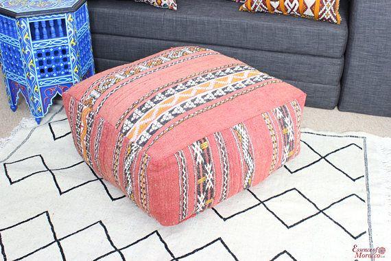 Moroccan Kilim Pouf Pouffe Vintage Extra Large Floor Cushion