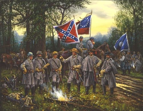 Print of Albert Sidney Johnston's Council of War before the battle of Shiloh. BFD