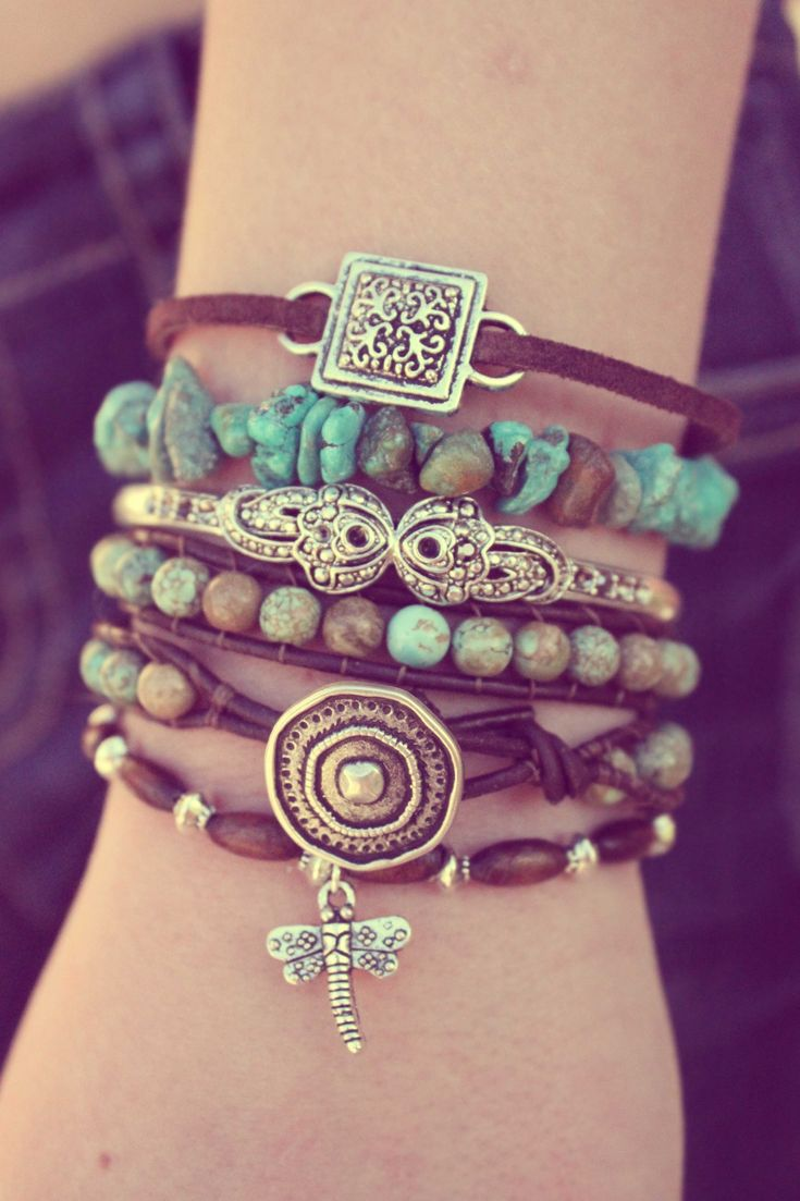 Stacked boho chic bracelets. Turquoise and brown leather.