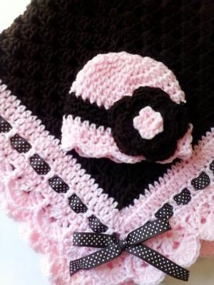 Crochet granny square crochet baby blanket, flower baby beanie hat, girls, chocolate, dark brown, pink, newborn hat, READY TO SHIP by theshimmeringrose