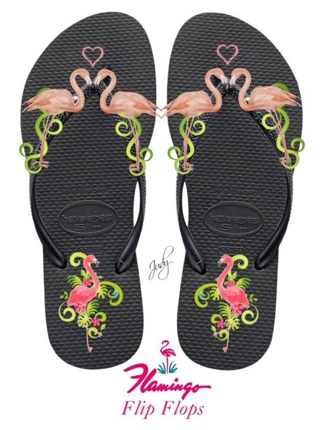 """""""Flamingo Flip Flops"""" by judymjohnson ❤ liked on Polyvore featuring art"""