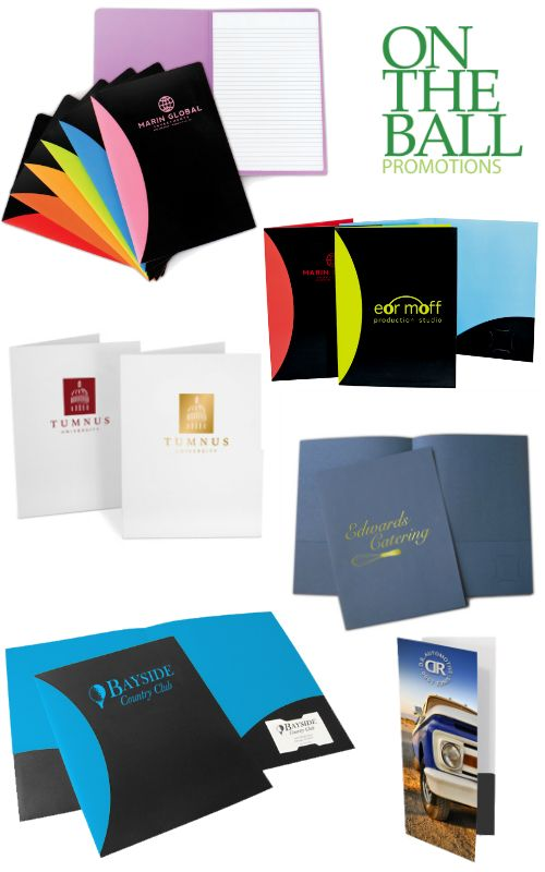 Custom presentation folders make a great impression for your business! Organize and protect important paperwork for clients, showcase your services, create welcome packets, info packets, present bids and estimates, hold press and media kits, and beyond! Customize and order yours online: https://www.ontheballpromotions.com/presentation-folders.aspx