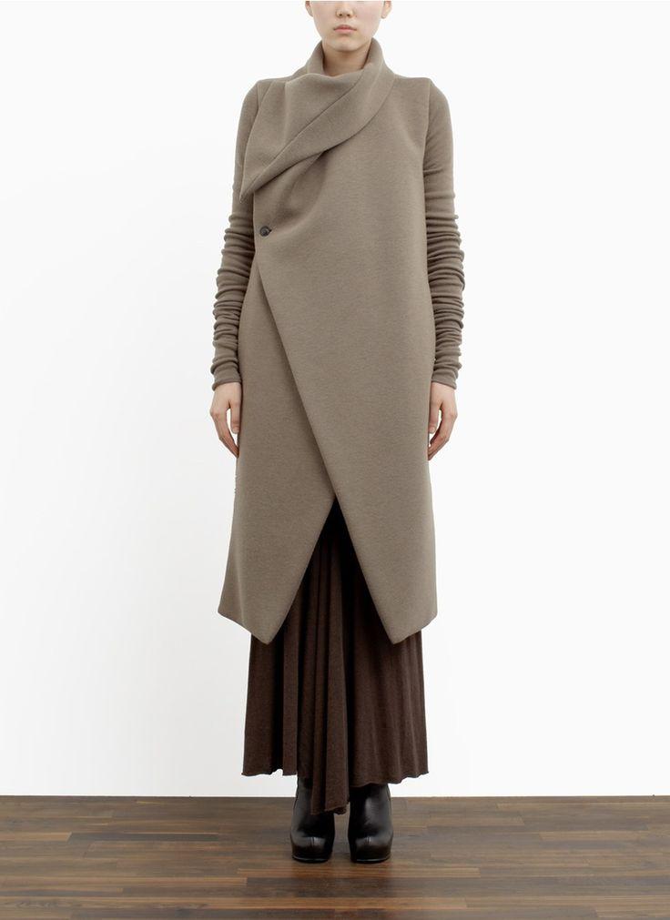 RICK OWENS LILIES - Padded collar wool-blend coat. - on SALE | Neutral Long Coats | Womenswear | Lane Crawford - Shop Designer Brands Online