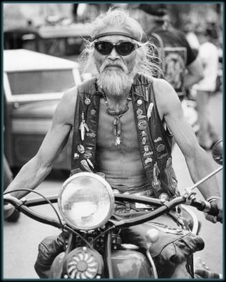 fine art photo of the Classic Black and White photo of a biker at the Sturgis Motorcycle Mecca.