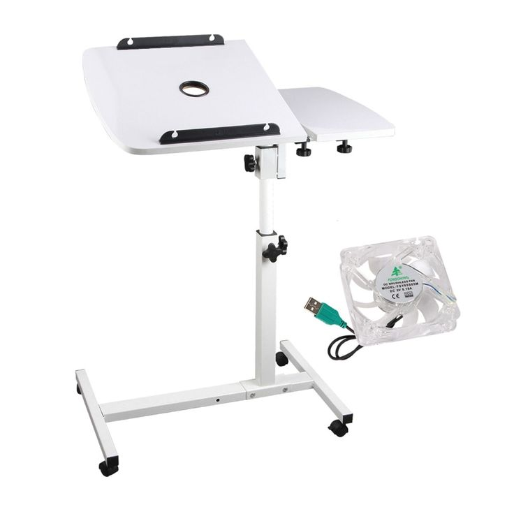 Rotating Mobile Laptop Adjustable Desk w/ USB Cooler White
