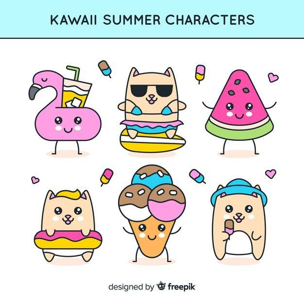 Free Sun Summer Cartoon Comic Characters Hand Drawn Ice Cream Watermelon Flamingo Hamster Kawaii Summer Cartoon Character Collection Cute Kawaii Drawings