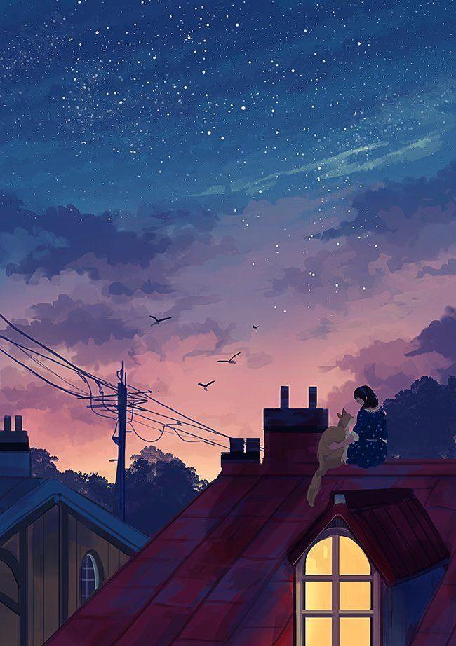 Helen Warlow On Twitter Anime Scenery Aesthetic Art Night Illustration