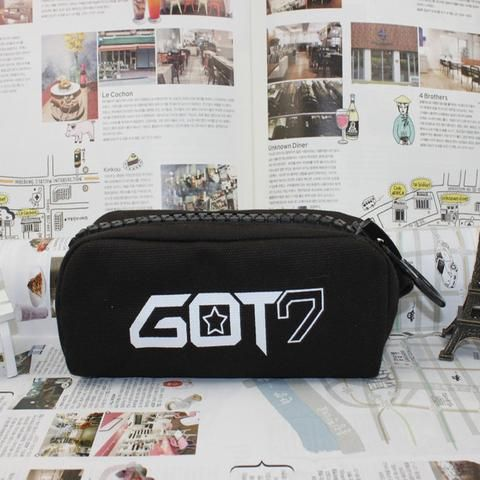 GOT7 South Korean Music Boy Group Canvas School Black Pencil Case. #GOT7 #SouthKoreanMusic #BoyGroup #Canvas #School #Black #PencilCase