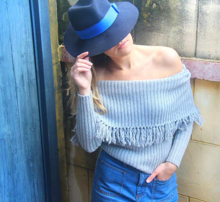 Winter styling   Seed Heritage knit and Denim skirt   Laura Ashley Fedora hat   Sensory Cues