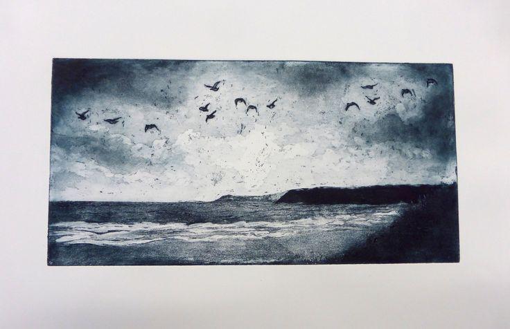Aislinn - Gulls & Clouds - Etching, Spitbite, Sugar Lift, Straw Hat Varnish.  A2 Fine Art Exam - Truro College 2016