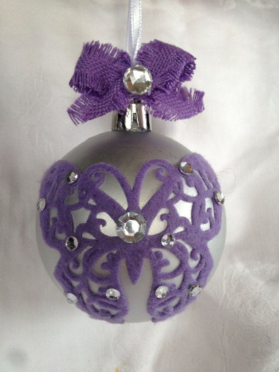 Silver and lilac butterfly Christmas ornament. on Etsy, $14.95 AUD. Please do not copy as this is an original design.