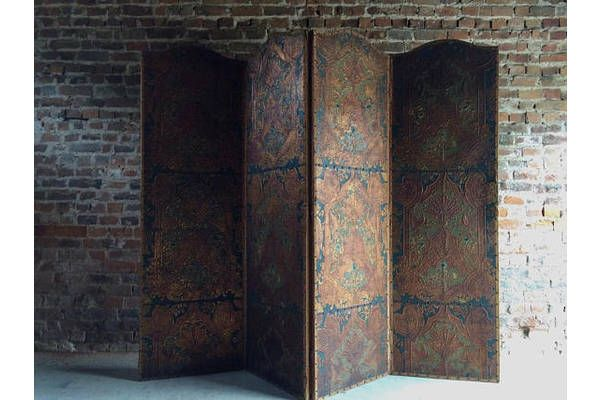 Amazing Antique Screen Room Divider Four Fold Victorian Leather Embossed Gilded   vinterior.co
