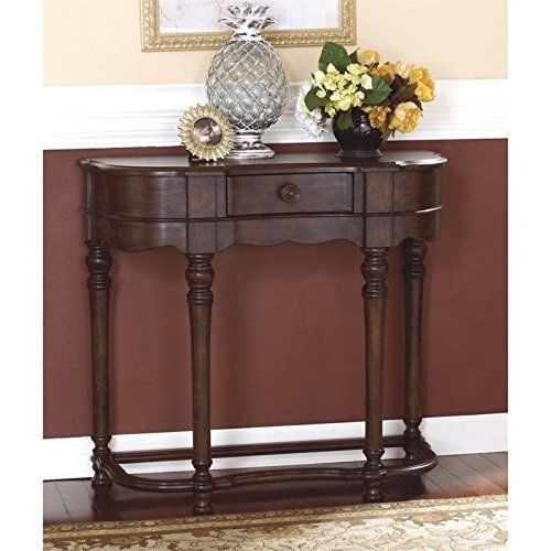 What an outstanding achievement in European country style. The subtle scalloped edging and turned accents on the Brookfield sofa table is just a touch fancy, while an oil-rubbed effect on the deep wood-color stain feels richly rustic. A stately, not stuffy, addition to a hallway or entryway.... more details available at https://furniture.bestselleroutlets.com/accent-furniture/sofa-console-tables/product-review-for-ashley-furniture-signature-design-brookfield-sofa-table-1-draw