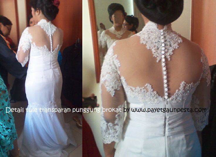 Backless wedding gown style with tulle and brocade for big size Bride.. Nice isn't it? :))