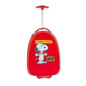 Ensemble Valise à roulettes + sac à dos enfant - Snoopy - Rouge