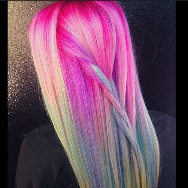20 Rainbow Hair Color Ideas for the Unicorn in All of Us ❤ liked on Polyvore featuring hair