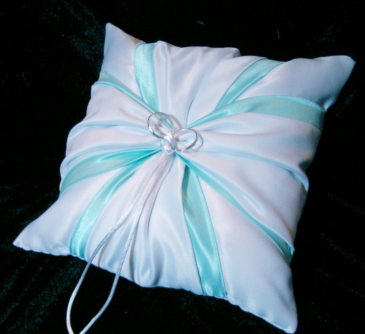 White Wedding Ring Bearer Pillow Tiffany Blue by Jessicasdaydream
