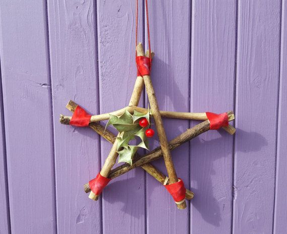 Yule Pentagram Star Decoration Pagan Yuletide Altar Winter