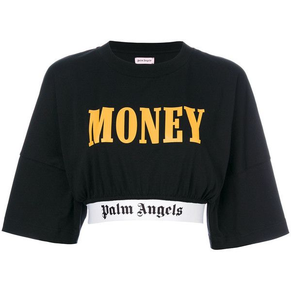 Palm Angels cropped logo trim T-shirt (4,710 MXN) ❤ liked on Polyvore featuring tops, t-shirts, crop top, black, cotton logo t shirts, cotton t shirts, cotton crop top, cotton tees and logo t shirts