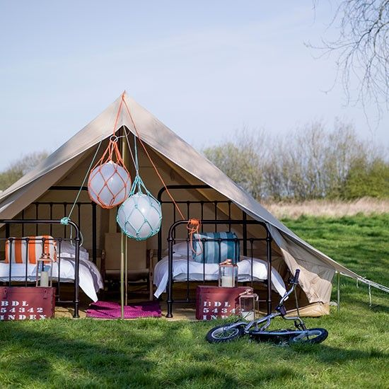 Canvas Sleeping Cabana : Modern garden with twin beds in a tent summer