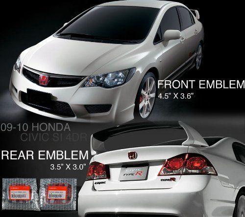 Brand New Rear 06 11 Honda Civic 4 Door JDM Red Honda H Rear Emblem