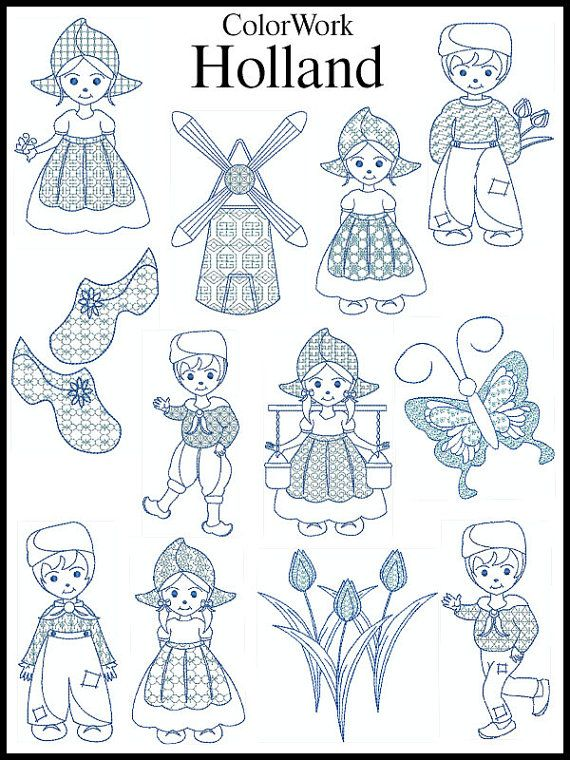 Set of 12  DUTCH BLUEWORK  Machine Embroidery  by embroiderquilt, $8.00