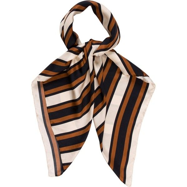 Pre-owned Balenciaga Striped Silk Scarf (2,205 EGP) ❤ liked on Polyvore featuring accessories, scarves, blue, striped shawl, blue silk scarves, balenciaga, silk scarves and silk shawl