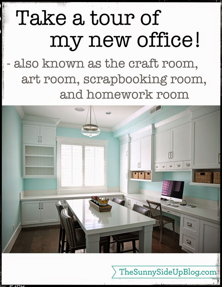 """Sunny Side Up - Office/Craft room tour!  The craft room wall color is """"Spearmint"""" DE5729 by Dunn Edwards."""