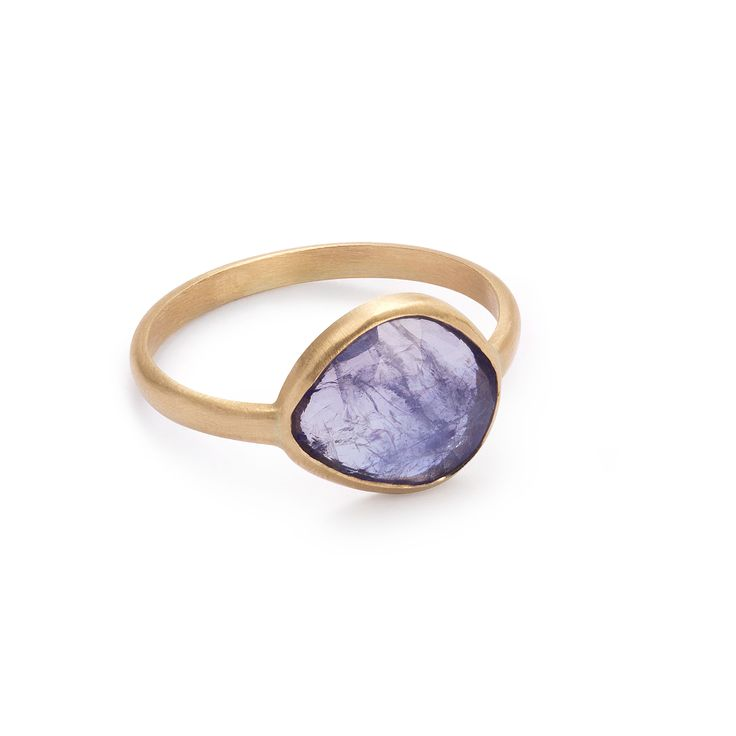 14-karat gold unique ring with tanzanite