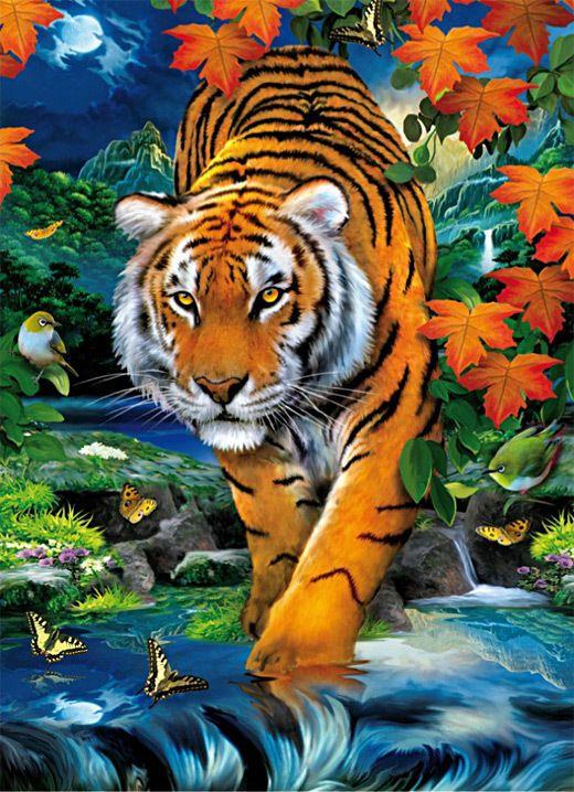 Puzzle 1000 Teile Tiger auf der Pirsch 3D Effekt C…