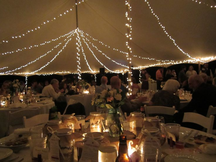 Outdoor Tent Wedding With White Christmas Lights Love The