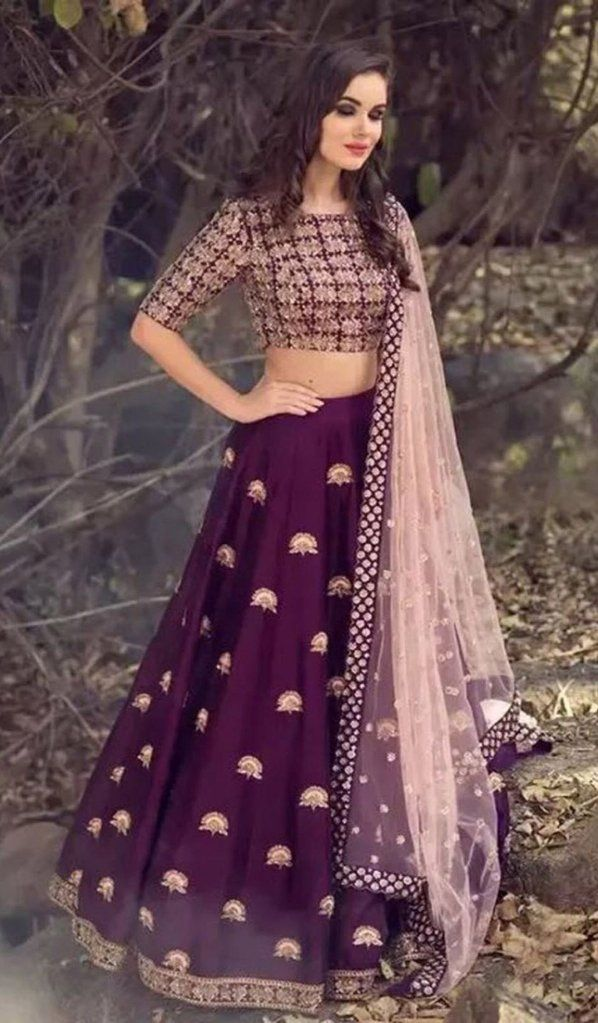 a4df682e1f Malai Satin Purple Lehenga with Pink Net Dupatta | crop top and ...