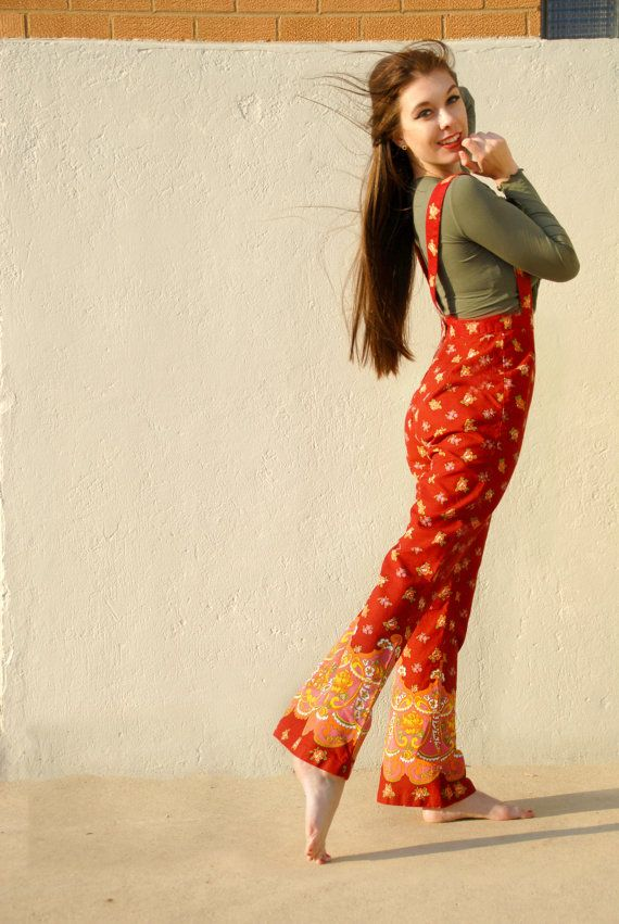 Vintage paisley overalls high-waist pants red by RoseleinRarities