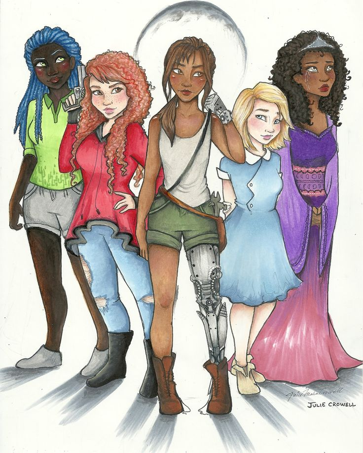 Iko, Scarlet, Cinder, Cress, and Winter from the Lunar Chronicles. Art by Julie Crowell