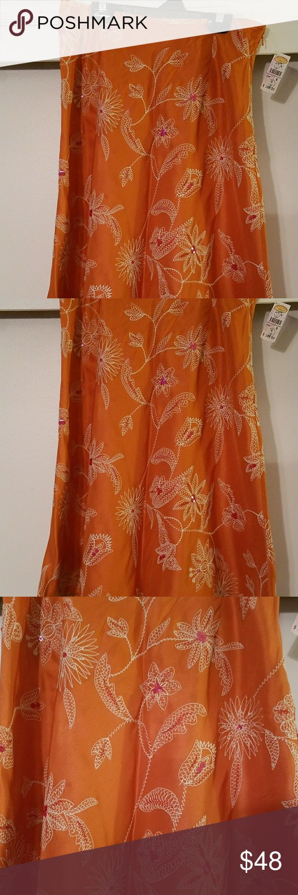 Talbots Orange Tropical Skirt New with tags perfect for summer knee length skirt. Orange skirt with tropical flower embroidery, with pink sequence embellishments. Skirt hem is edged with hemp for a perfect luau feel. Skirt liner is 100% silk. Talbots Skirts Midi
