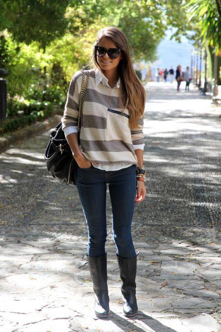 #SheInside Grey Stripes Loose Sweater with Pocket - Sheinside.com