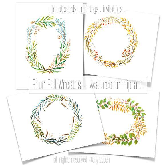 fall wreaths hand painted  watercolor clip art  digital
