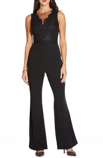 cb70ce1db701 Adrianna Papell Lace Bodice Bell Bottom Jumpsuit