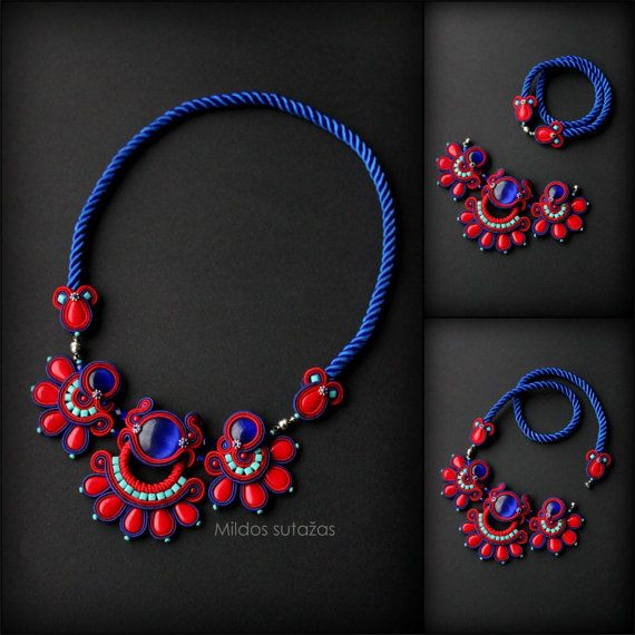 Handmade soutache necklace by Mildossutazas on Etsy