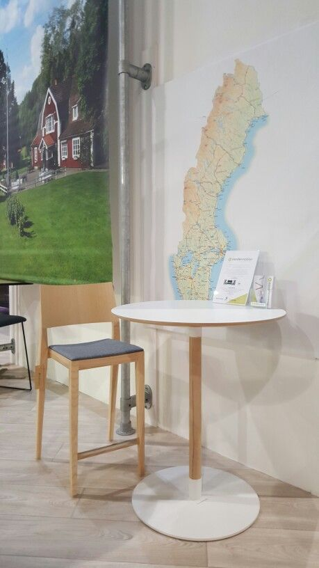 Tova stool and John high table in ash wood at the VisitSweden and Volvo stand at de Vakantiebeurs 2016 in Utrecht