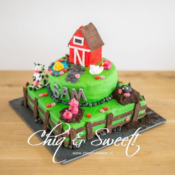 1 van m'n eerste taarten, een boerderij taart, met eendjes, kip, varkens een koe, molletje en uiteraard een schuur. Hek er omheen en klaar!