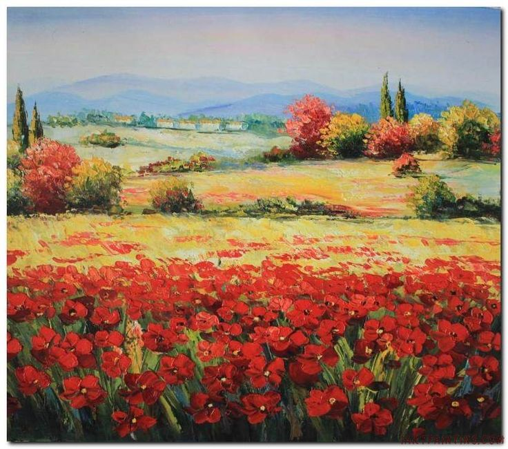 Flower Field Landscape Oil Painting Italian Tuscany