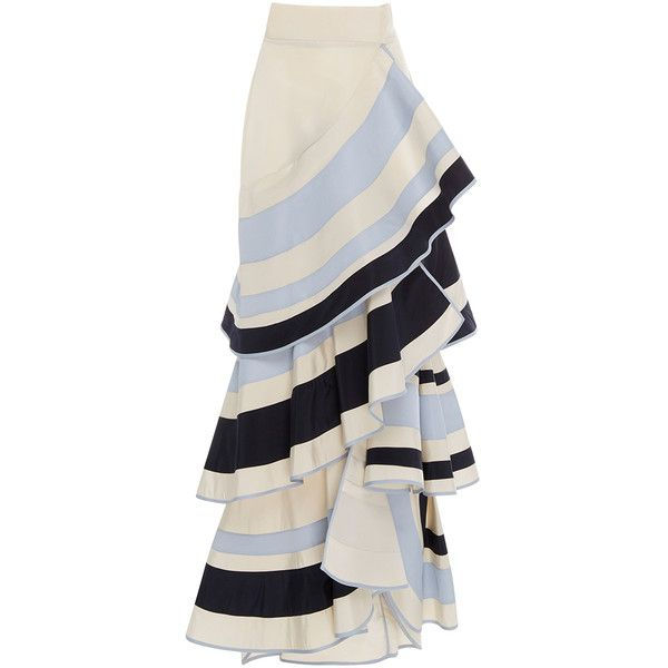 Johanna Ortiz Lombard Street Tiered Ruffle Skirt (10.331.930 COP) ❤ liked on Polyvore featuring skirts, bottoms, johanna ortiz, stripe, high-waist skirt, high rise skirts, stripe skirts, tiered ruffle skirt and striped a line skirt