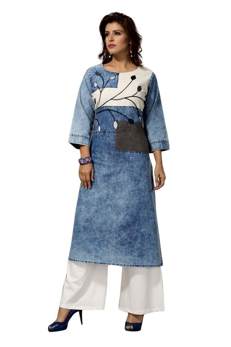 Fancy blue long sleeve denim kurti
