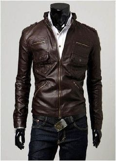 Men's Classic PU Leather Jacket with Pockets $35