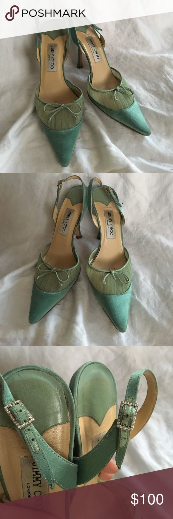 """Jimmy Choo Mint green heels These are gorgeous! Beautiful green silk with a mesh pleated accent pointed toe slingback heels. Classic Jimmy Choo! (These are pre-2009). Decent condition, the toes show wear, but not noticeable when worn. Heel tips in good condition, and the heels look good. I do not have the box, but will ship in the original dustbag.These are priced to sell. Size 40 (fits like a US 8.5/9) measures 10.75"""" from heel to toe, with a 4"""" heel. I offer bundle discounts and I ship…"""