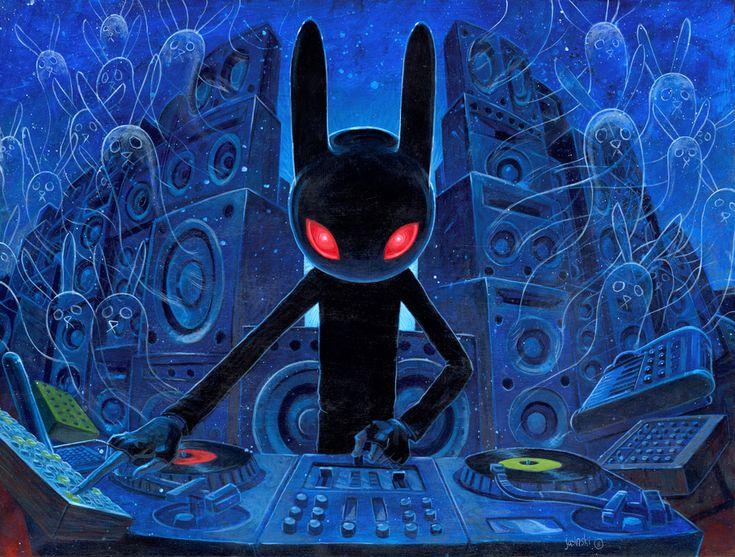 DJ Black Rabbit | jasinski ( Aaron Jasinski ) #illustration: Jasinski Art, Psychedelic Art, Wall Murals, Art Prints, Black Rabbit, Dj Blackrabbit, Aaron Jasinski, Blackrabbit Wall, New Art