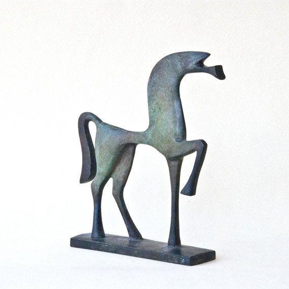Metal Horse Cast Bronze Metal Sculpture Ancient by GreekMythos